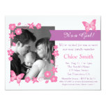Elegant Photo Pink butterfly baby shower party Invite