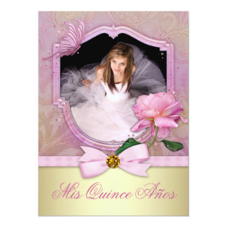 Elegant Photo Pink Butterfly Rose Quinceanera Personalized Announcement