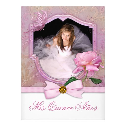 Elegant Photo Pink Butterfly Rose Quinceanera Invite