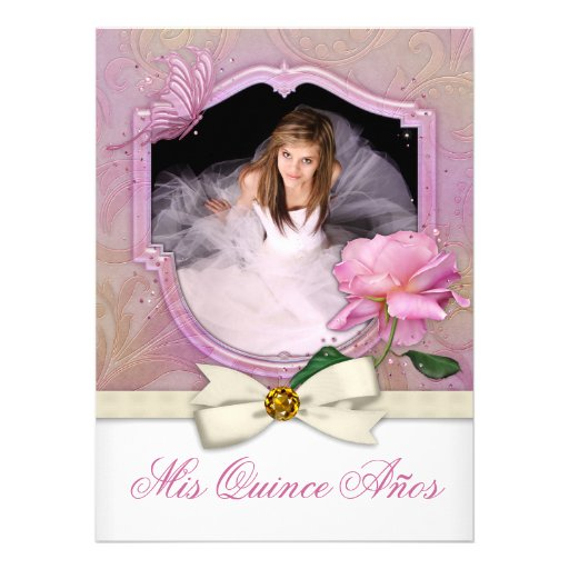Elegant Photo Pink Butterfly Rose Quinceanera Custom Invites