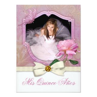 Elegant Photo Pink Butterfly Rose Quinceanera Custom Invites