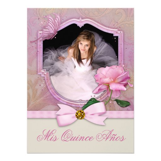 Elegant Photo Pink Butterfly Rose Quinceanera Custom Announcements