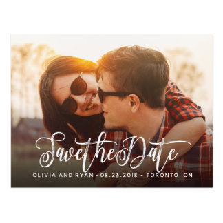 Elegant photo wedding save the date postcard