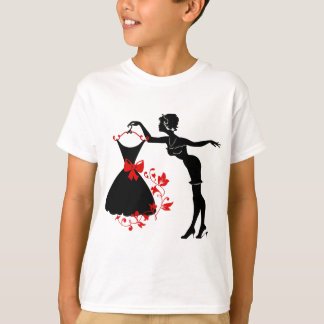 Elegant pin up stylish woman silhouette with dress