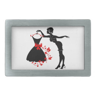 Elegant pin up stylish woman silhouette with dress belt buckles