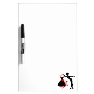 Elegant pin up stylish woman silhouette with dress dry erase board