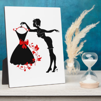 Elegant pin up stylish woman silhouette with dress plaque