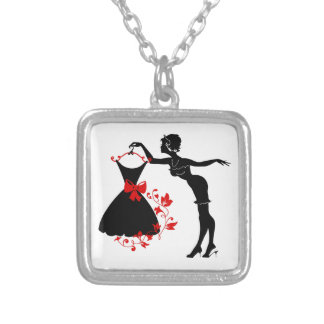 Elegant pin up stylish woman silhouette with dress silver plated necklace