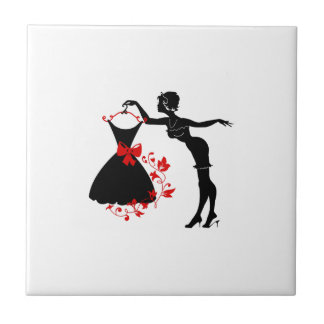 Elegant pin up stylish woman silhouette with dress small square tile