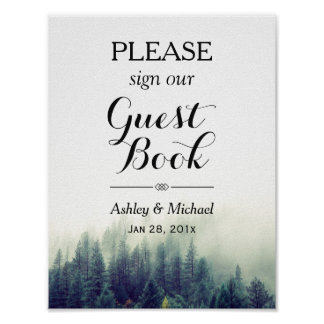 Elegant Pine Trees Forest Wedding Guestbook Sign Poster