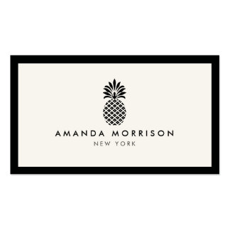 Elegant Pineapple Luxury Boutique Black/Ivory Pack Of Standard Business Cards