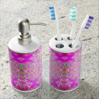 Elegant Pink Abstract Floral Pattern Soap Dispenser And Toothbrush Holder