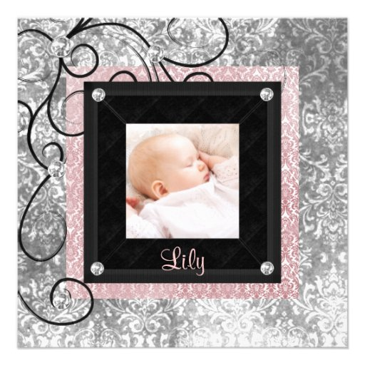 Elegant Pink and Black Baby Girl Photo Birth Custom Announcements