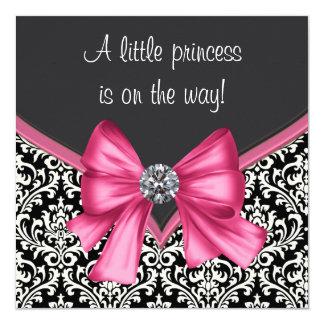 Elegant Pink and Black Damask Baby Shower 13 Cm X 13 Cm Square Invitation Card