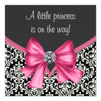Elegant Pink and Black Damask Baby Shower Card