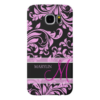 Elegant pink and black damask with monogram samsung galaxy s6 cases