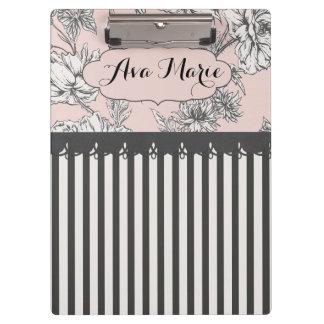 Elegant  Pink and Black Flora Striped Clipboard