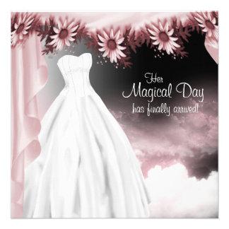 Elegant Pink and Black Quinceanera Custom Invitations