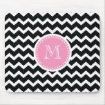Elegant Pink and Black Retro Chevron Monogram