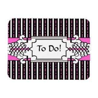 Elegant Pink and Black To Do List Fridge Magnet
