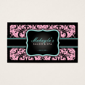 Elegant Pink and Black Vintage Damask Business Card