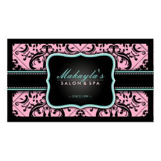 Elegant Pink and Black Vintage Damask Business Card Template
