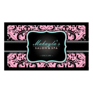Elegant Pink and Black Vintage Damask Pack Of Standard Business Cards