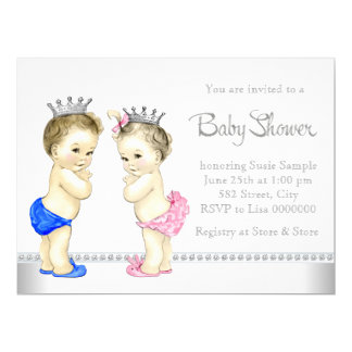 Elegant Pink and Blue Twin Baby Shower 17 Cm X 22 Cm Invitation Card
