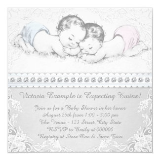Elegant Pink and Blue Twin Baby Shower 13 Cm X 13 Cm Square Invitation Card