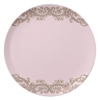 Elegant Pink and Brown Lace Plates
