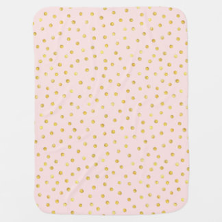 Elegant Pink And Gold Foil Confetti Dots Pattern Baby Blanket
