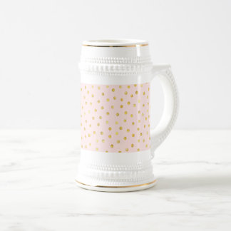 Elegant Pink And Gold Foil Confetti Dots Pattern Beer Stein