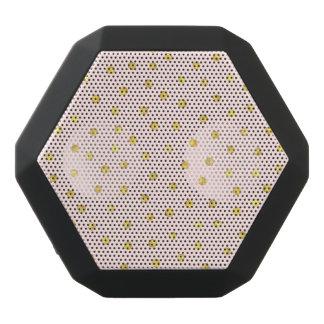 Elegant Pink And Gold Foil Confetti Dots Pattern Black Bluetooth Speaker
