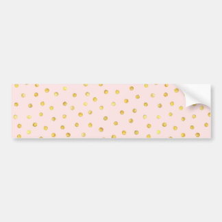 Elegant Pink And Gold Foil Confetti Dots Pattern Bumper Sticker