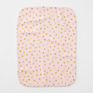 Elegant Pink And Gold Foil Confetti Dots Pattern Burp Cloth