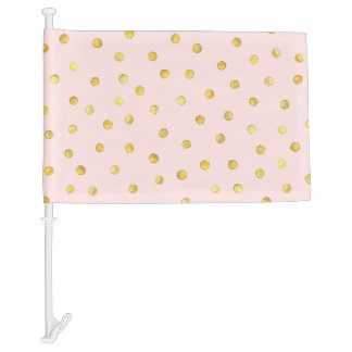 Elegant Pink And Gold Foil Confetti Dots Pattern Car Flag