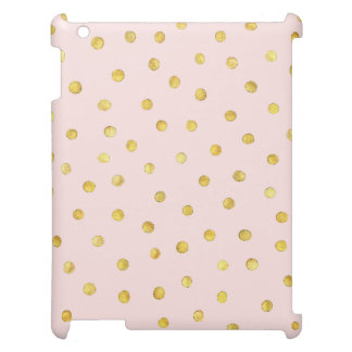 Elegant Pink And Gold Foil Confetti Dots Pattern iPad Cover