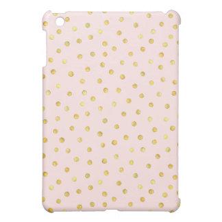 Elegant Pink And Gold Foil Confetti Dots Pattern iPad Mini Case
