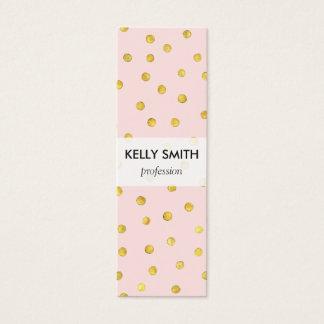 Elegant Pink And Gold Foil Confetti Dots Pattern Mini Business Card
