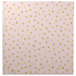 Elegant Pink And Gold Foil Confetti Dots Pattern Napkin