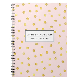 Elegant Pink And Gold Foil Confetti Dots Pattern Spiral Notebook