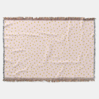 Elegant Pink And Gold Foil Confetti Dots Pattern Throw Blanket