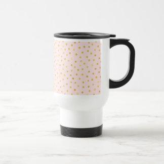 Elegant Pink And Gold Foil Confetti Dots Pattern Travel Mug