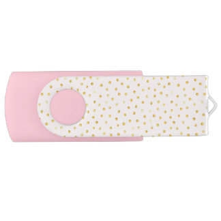 Elegant Pink And Gold Foil Confetti Dots Pattern USB Flash Drive