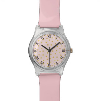 Elegant Pink And Gold Foil Confetti Dots Pattern Watch