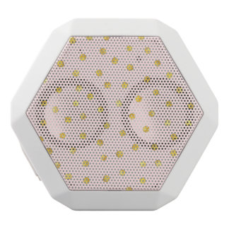 Elegant Pink And Gold Foil Confetti Dots Pattern White Bluetooth Speaker