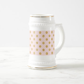 Elegant Pink And Gold Glitter Polka Dots Pattern Beer Stein