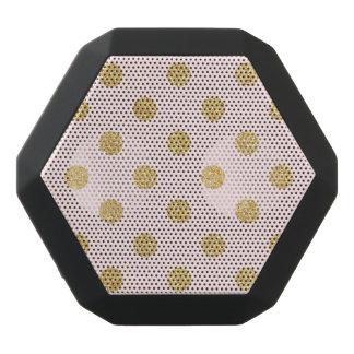 Elegant Pink And Gold Glitter Polka Dots Pattern Black Bluetooth Speaker
