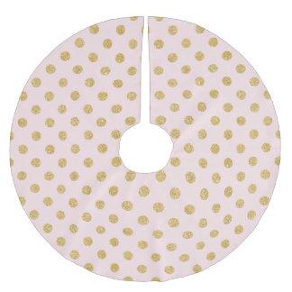 Elegant Pink And Gold Glitter Polka Dots Pattern Brushed Polyester Tree Skirt
