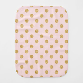 Elegant Pink And Gold Glitter Polka Dots Pattern Burp Cloth
